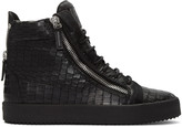 Giuseppe Zanotti Black Croc-Embossed London High-Top Sneakers