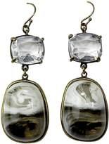 Gerard Yosca Womens Stone Drop Faceted Earring Black/White