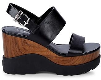 MICHAEL Michael Kors Rhett Leather Platform Wedge Sandals