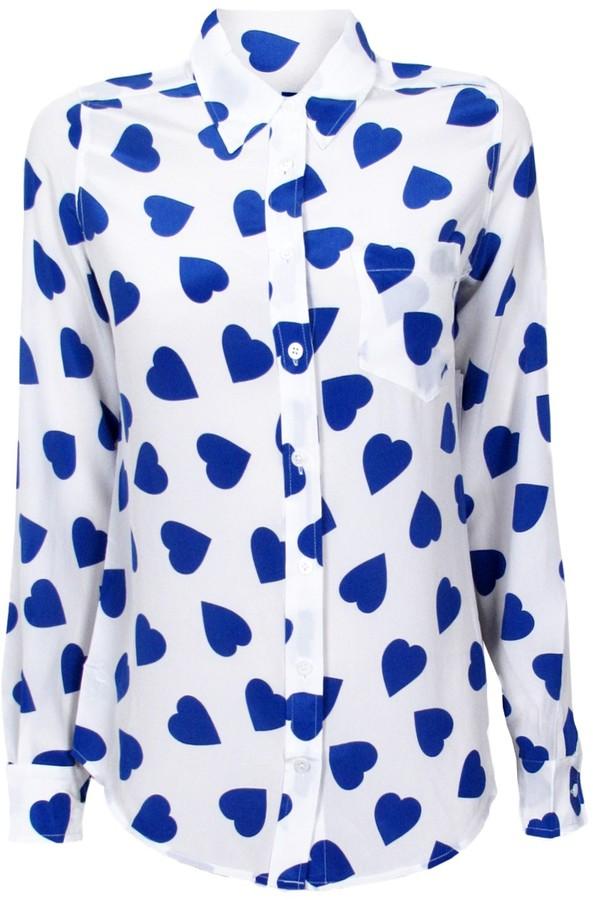 Equipment Brett New Love Print Blouse | White & Blue