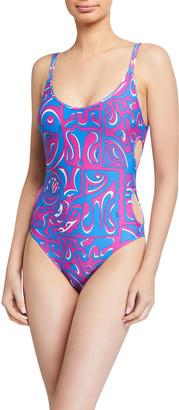Emilio Pucci Printed Cutout One-Piece Swimsuit