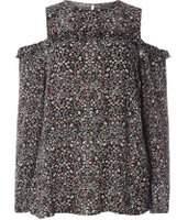 Dorothy Perkins Womens **Tall Black Ditsy Cold Shoulder Top- Black