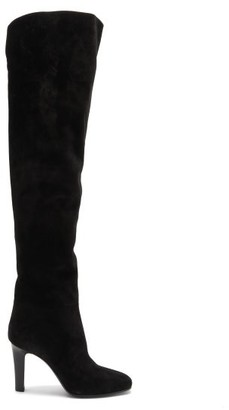 Saint Laurent Blu Over-the-knee Suede Boots - Black