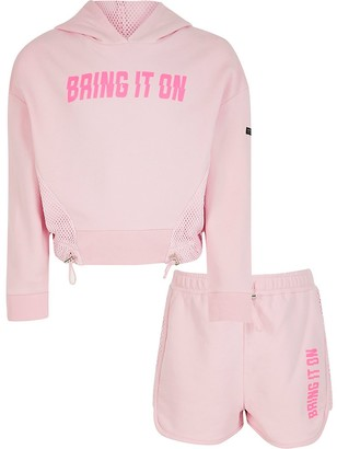 River Island Girls RI Active pink mesh hoodie outfit