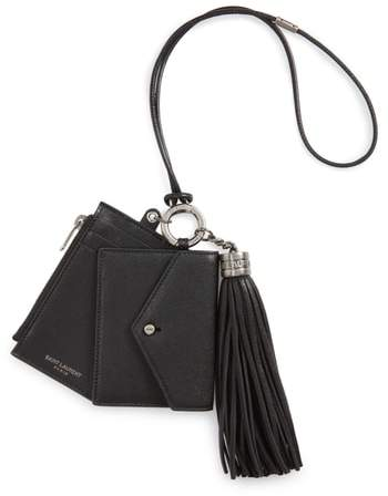 Saint Laurent Leather Card Case, Coin Purse & Key Ring Set