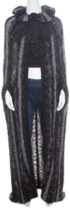Chanel Multicolor Chunky Knit Tie Detail Cape Style Open Front Long Cardigan M