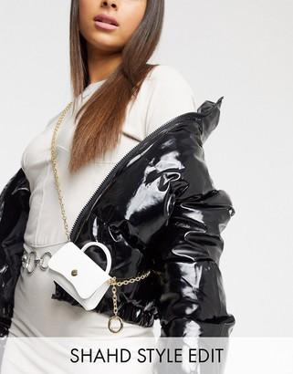 Asos DESIGN ultra mini purse bag in white patent