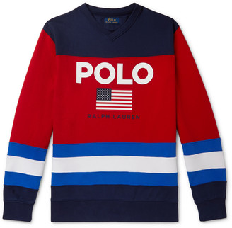 Polo Ralph Lauren Logo-Print Colour-Block Fleece-Back Cotton-Blend Jersey Sweatshirt