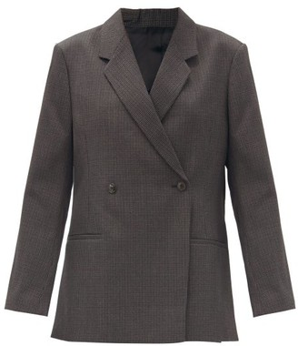 Totême Loreo Double-breasted Check Wool Jacket - Grey