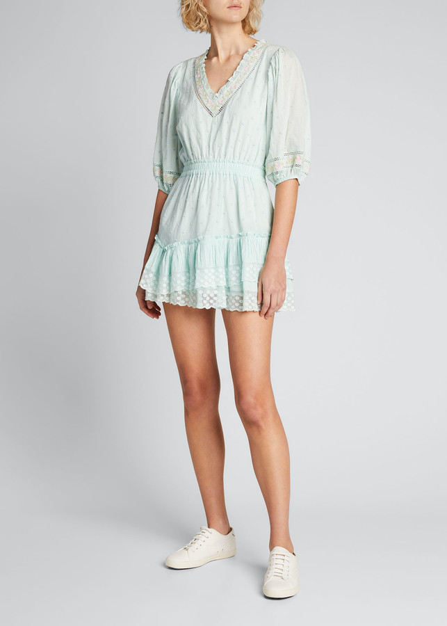 Thumbnail for your product : LoveShackFancy Adley Embroidered Cotton Short Dress