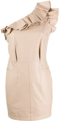 IRO One Shoulder Ruffle Mini-Dress