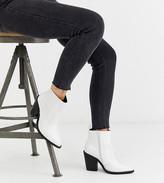 Asos Design DESIGN Wide Fit Elliot western boots in white croc