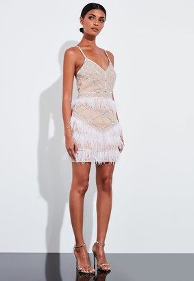 Missguided Nude Feather Embellished Strappy Mini Dress