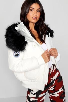 boohoo Black Faux Fur Hood Crop Puffer