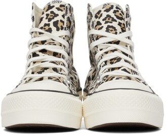 Converse Off-White & Brown Platform Chuck Taylor All Star High Sneakers