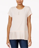 Maison Jules Pleated Contrast Top, Only at Macy's