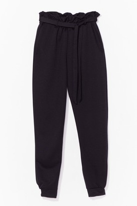 Nasty Gal Womens It's in the Paperbag Belted High-Waisted Joggers - Black - 6, Black