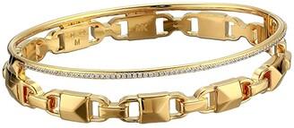 Michael Kors Precious Metal-Plated Sterling Silver Mercer Link Pave Halo Bangle Bracelet (Gold) Bracelet