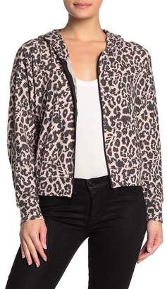 LnA Leopard Front Zip Hooded Jacket