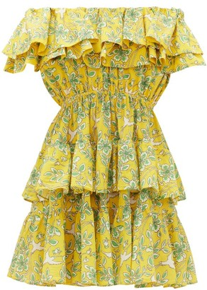 Rhode Resort Dotty Off-the-shoulder Floral-print Cotton Dress - Yellow Print