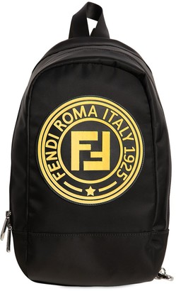 Fendi Rubber Patch Logo Nylon Backpack