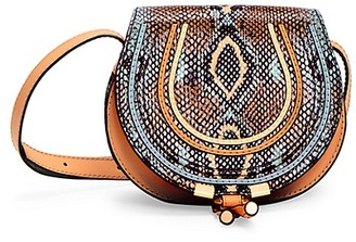 Chloé Small Marcie Python-Embossed Leather Saddle Bag