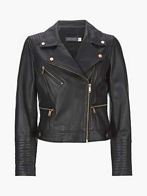 Mint Velvet Leather Zip Biker Jacket