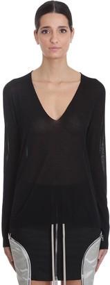 Rick Owens Soft V Neck T-shirt In Black Cotton
