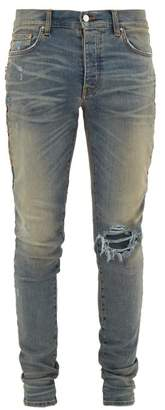 Amiri Leopard-print Calf Hair-striped Distressed Jeans - Mens - Blue