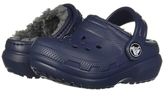 Crocs Classic Lined Clog (Toddler/Little Kid/Big Kid) (Navy/Charcoal) Kids Shoes