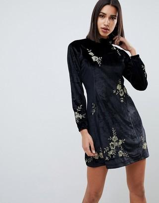 Asos DESIGN embroidered velvet high neck swing dress