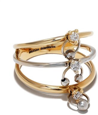 Delfina Delettrez 18kt yellow and white gold Two-in-One diamond ring piercing triple ring