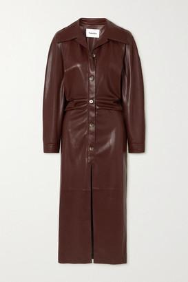 Nanushka Sami Ruched Vegan Stretch-leather Shirt Dress - Brown