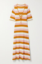 Thumbnail for your product : Dodo Bar Or Violette Lace-up Striped Pointelle-knit Maxi Dress - Saffron