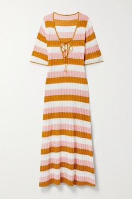Dodo Bar Or Violette Lace-up Striped Pointelle-knit Maxi Dress - Saffron