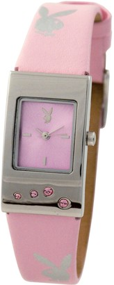 Playboy Women's Watch With Printed Silver Bunnies Pink Dial and Pink Strap