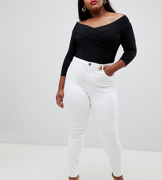 ASOS DESIGN Curve high rise ridley 'skinny' jeans in optic white
