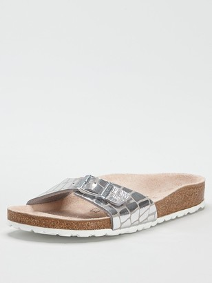 Birkenstock Madrid Metallic Flat Sandals - Silver
