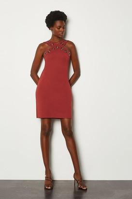 Karen Millen Ponte Eyelet Halter Dress