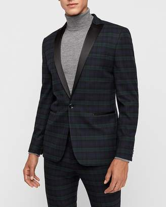 Express Extra Slim Green & Black Plaid Tuxedo Jacket