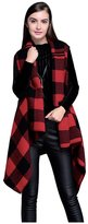 Evaliana Women's Oversized Plaids Cover Up Cardigan Cape Wrap Poncho Knitwear
