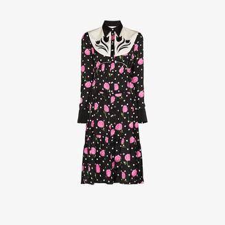 Paco Rabanne floral polka dot Western shirt dress