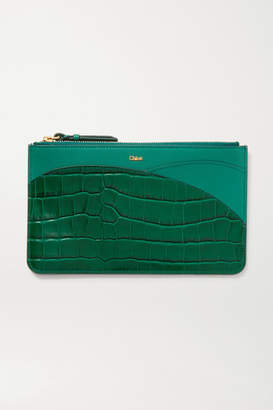 Chloé Walden Smooth And Glossed Croc-effect Leather Pouch - Green