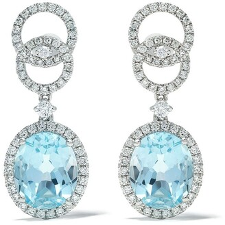 Kiki McDonough 18kt white gold Signatures blue topaz and diamond interlinking stud top earrings
