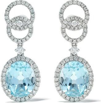 Kiki McDonough 18kt white gold Signatures blue topaz and diamond interlinking stud top earrings