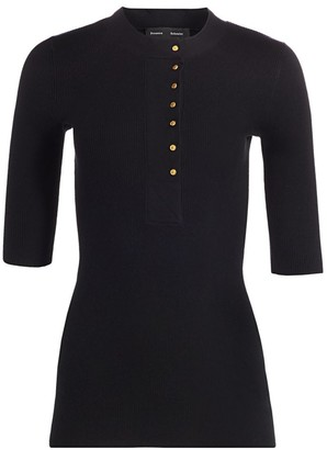 Proenza Schouler Button-Front Silk & Cashmere Henley
