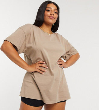 ASOS DESIGN Curve mix & match relaxed t-shirt co-ord with roll sleeve in mushroom