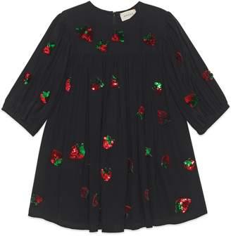 Gucci Children's silk dress with sequin strawberries