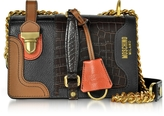 Moschino Brown Embossed Croco Leather Shoulder Bag