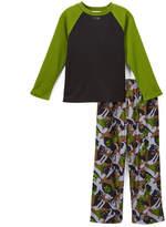 Komar Kids Green Wolf Camo Pajama Set - Boys